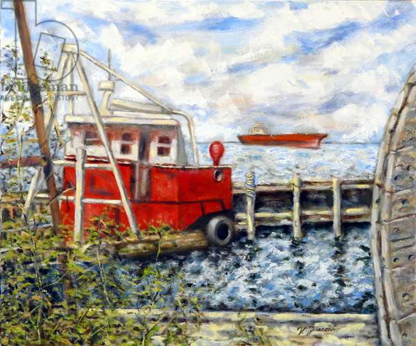 Tugboat Yard, 2020, (oil on canvas)