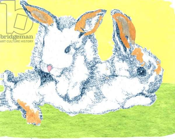 Easter Bunnies (mixed media)
