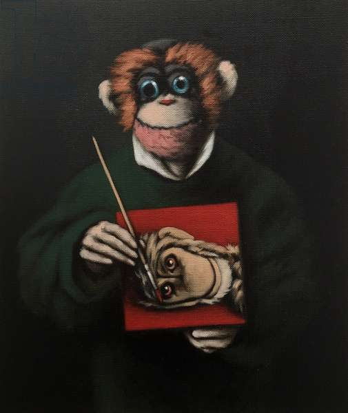 Monkey Painter, 2005, (oil on canvas)