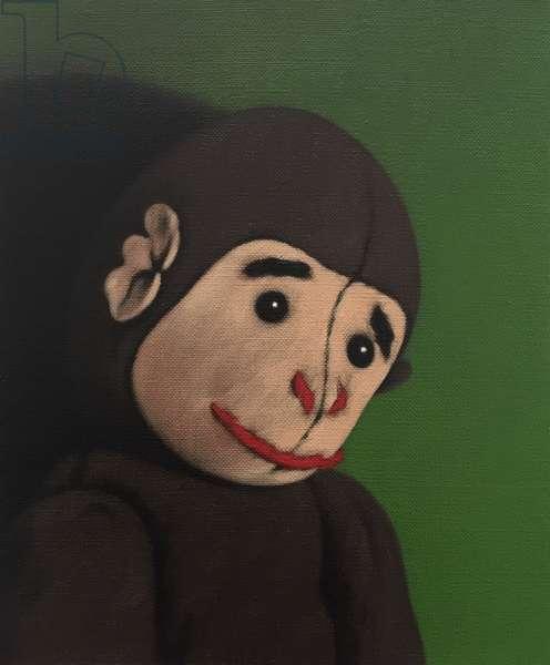 Monkey Portrait on Green, 2005, (oil on canvas)