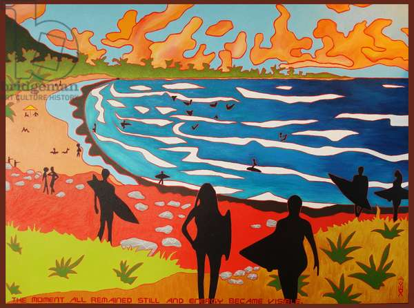 Dulan beach surfers, 2010, oil on canvas