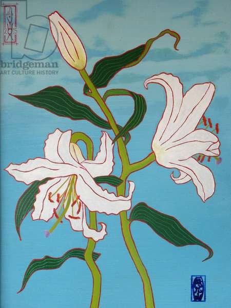 White lily on a blue background, 2010, oil on wood