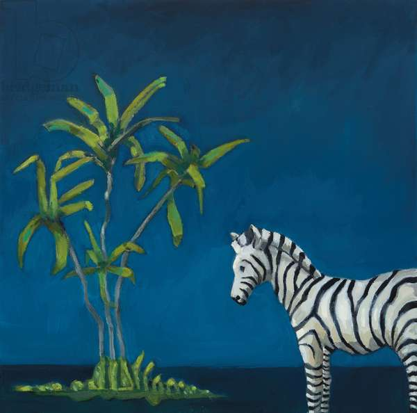 Zebra with Palm Tree, 2019, oil on canvas