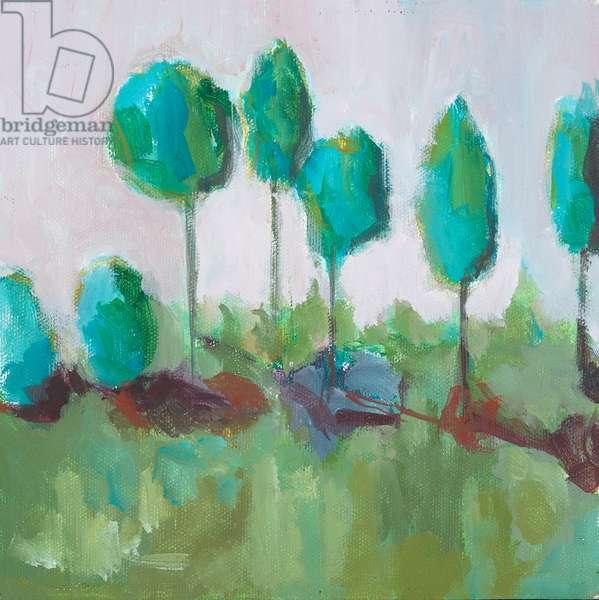 Row of Trees, acrylic on board