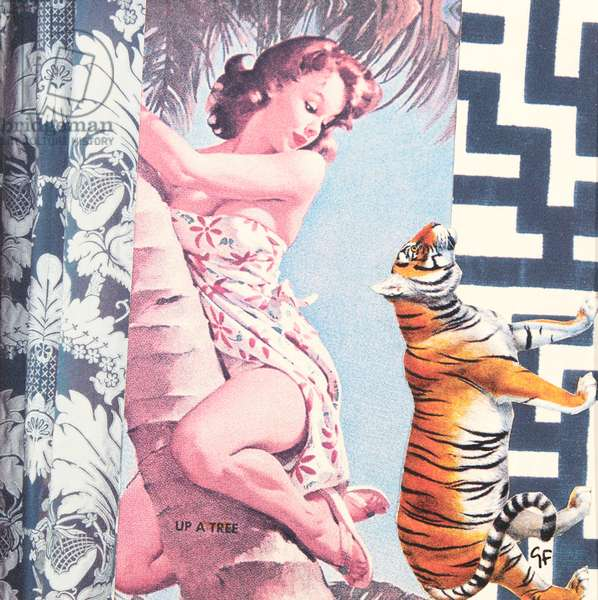 climbing girl with tiger, collage, 2016