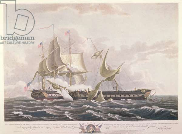The battle between the USS Constitution and the HMS Guerriere (colour litho)