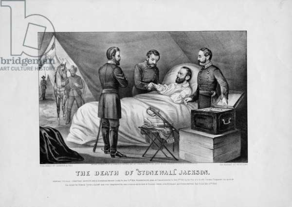The death of Stonewall Jackson, pub. by Currier & Ives, 1872 (litho)