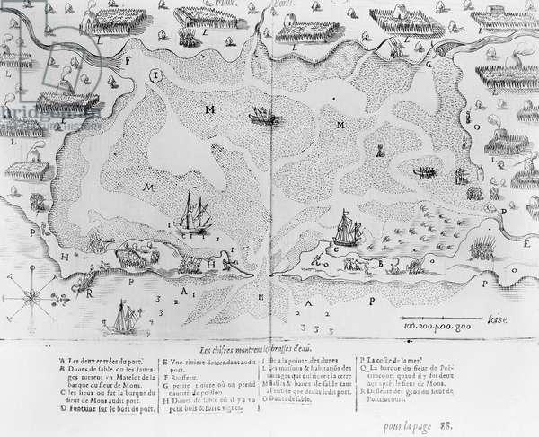 The Harbour of Cape Cod, from 'Voyages de sieur Champlain' by Samuel de Champlain (1567-1635) published in Paris, 1613 (engraving)