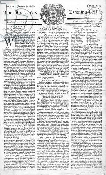 Front page of the 'Boston Evening Post' announcing the death of King George II (1683-1760), 5th January, 1761 (print)