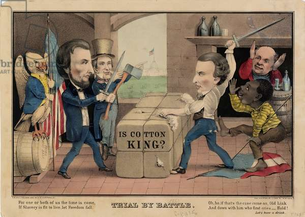 Trial by battle, published by E.B. & E.C. Kellogg, Hartford, Ct; and Geo. Whiting, New York, 1861 or 1862 (colour litho)