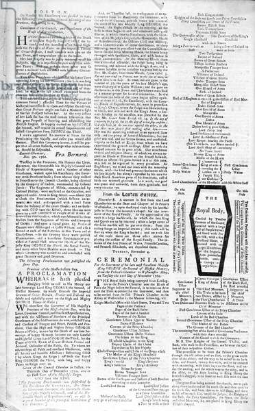 Second page of the 'Boston Evening Post' announcing the death of King George II (1683-1760), 5th January, 1761 (print)