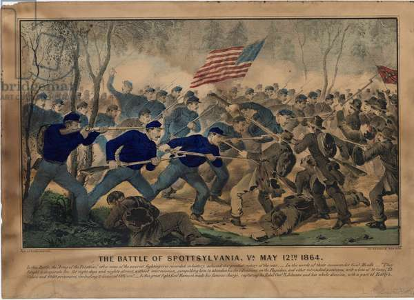 The Battle of Spottsylvania, Va. May 12th 1864, pub. by Currier & Ives, c.1864 (colour litho)