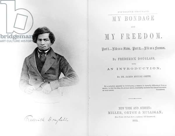 Frontispiece and titlepage to 'My Bondage and My Freedom', by Frederick Douglass (1818-95) published 1855 (print)
