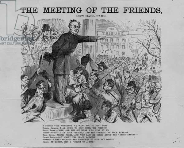 Meeting of the friends, City Hall Park, published by H.L. Stephens, New York, c.1863 (litho)