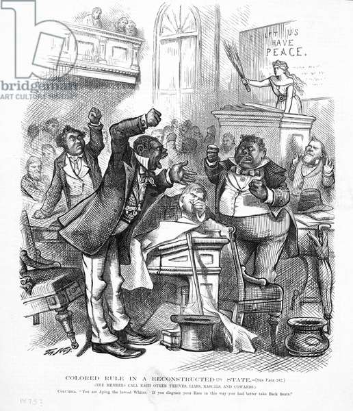 Political cartoon depicting African-Americans as politicians (litho)