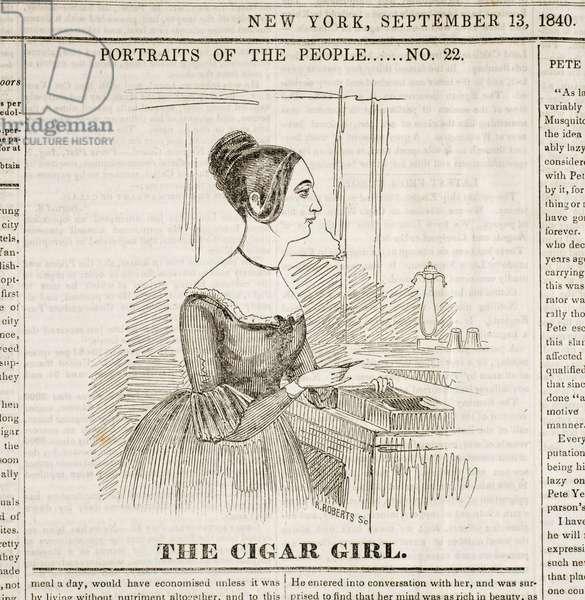 Cigar Girl, Front Page of 'New York Sunday Atlas', September 13, 1840 (print)