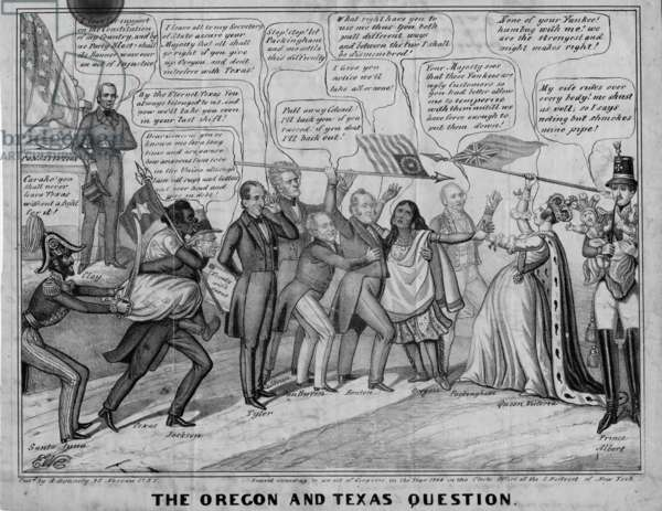 The Oregon and Texas question, published by A Donnelly, New York, c.1844 (litho)
