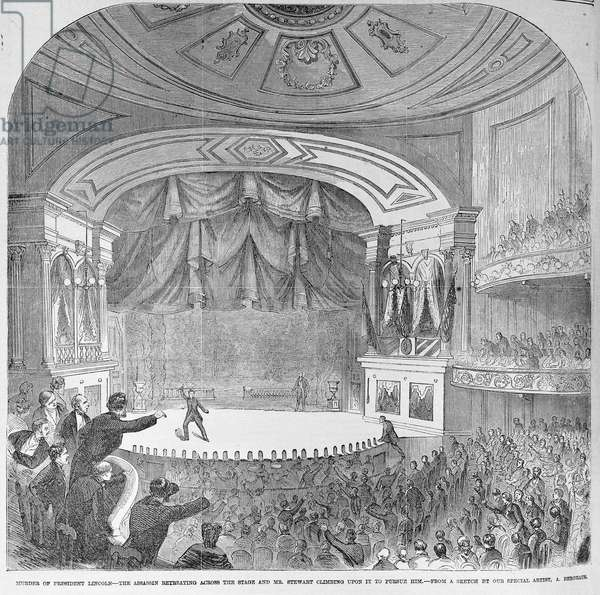 The assassination of Abraham Lincoln (1809-65) in the box at Ford's Theatre, April 14th 1865, from 'Frank Leslie's Illustrated Newspaper', 20th May 1865 (litho)