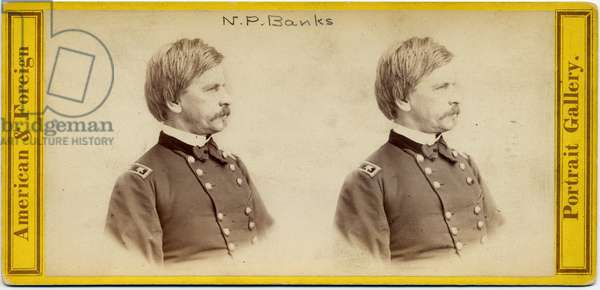 Nathaniel Prentice Banks (1816-94), American Politician and Union Army General (stereo photo)