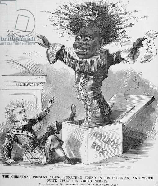 Political cartoon depicting President Andrew Jackson (1767-1845) being frightened by the prospect of the black vote in America (litho)