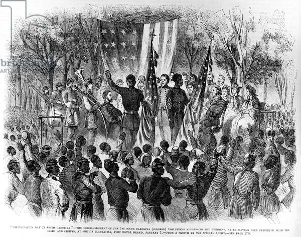 Emancipation Day in South Carolina, from 'Frank Leslie's Illustrated Newspaper' 24th January 1863 (litho)