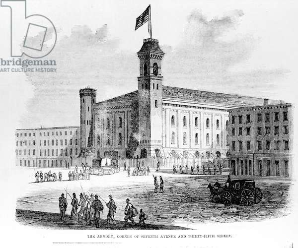 'The Armory, Corner of Seventh Avenue and Thirty-Fifth Street', scene from the Draft Riots in New York City, 1863 (litho)