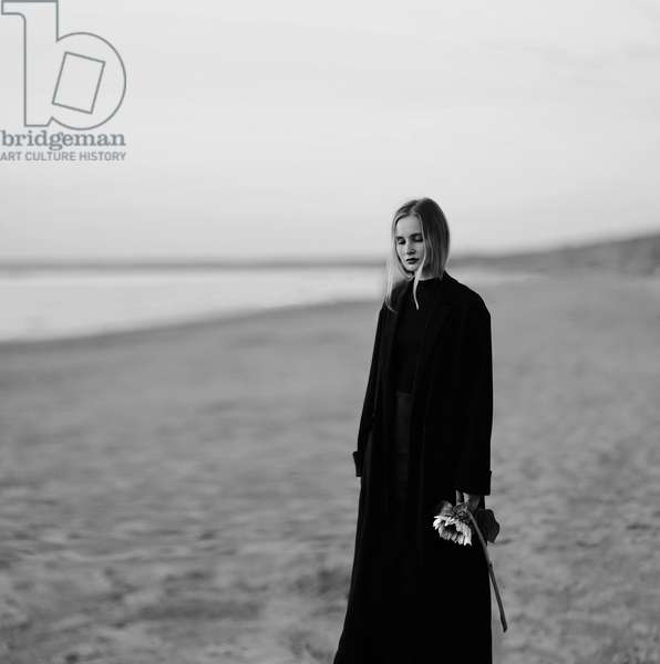 Woman on a beach, 2019 (b/w photo)