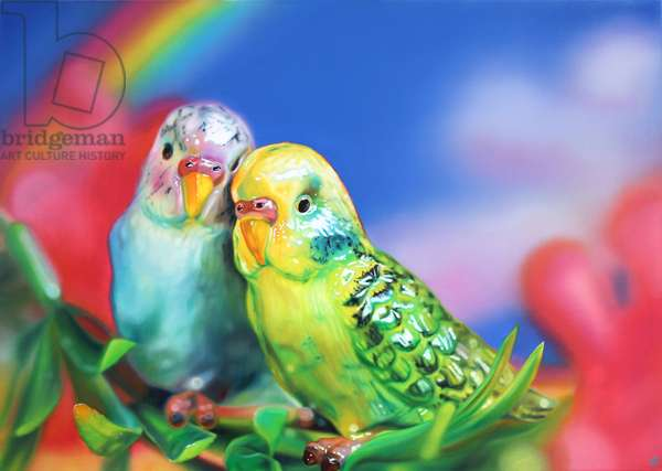 Budgie Love, 2014, (oil on canvas)