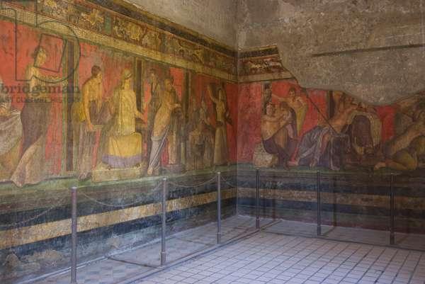 Frescoes from the Villa dei Misteri, the Roman ruins of Pompeii destroyed by Mount Vesuvius in AD79, Pompeii, Campania, Italy (photo)