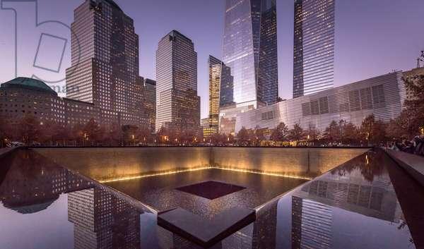 Exterior view of National September 11 Museum Pavilion and Memorial, World Trade Center, New York, USA, 2015 (photo)