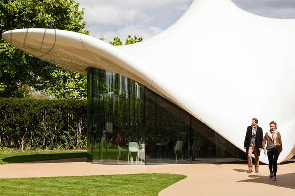 Visitors at the Serpentine Sackler Gallery, Kensington Gardens, London W2, UK (photo)