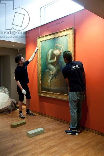 Installation of 'Hope' by G.F. Watts, Watts Gallery, Compton, Surrey, UK (photo)
