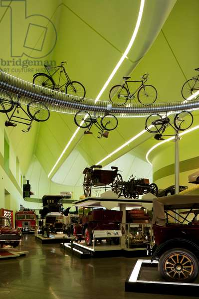 Transport exhibits in the Riverside Museum, Glasgow, Scotland (photo)