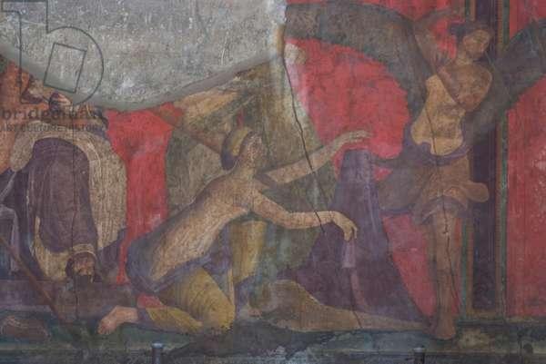 Fresco from the Villa dei Misteri, Roman ruins of Pompeii, destroyed by Mount Vesuvius in AD79, Pompeii, Campania, Italy (photo)