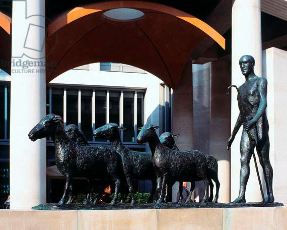 London Sculpture Shepherd and Sheep by Elizabeth Frink, Paternoster Square, London, UK (photo)