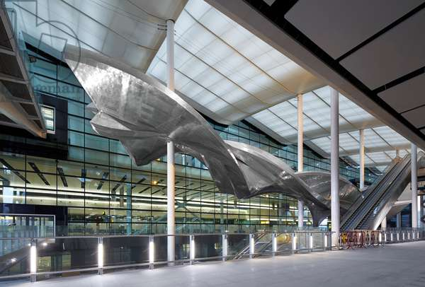 Slipstream, aluminuim sculpture by Richard Wilson RA, Terminal 2, Heathrow Airport, London, UK (photo)