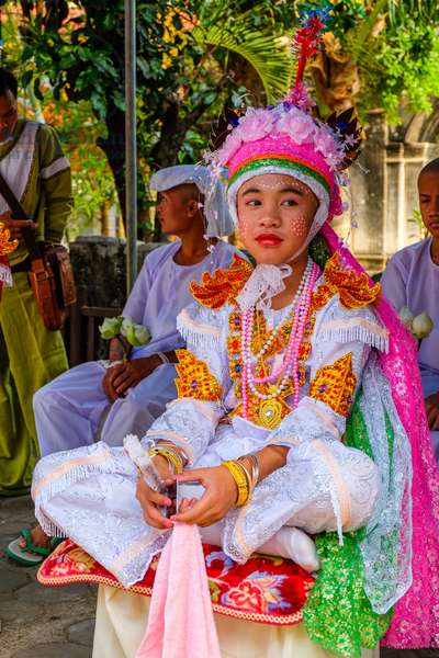 Novice monk, Poy Sang Long (Shan ordination ceremony for boys aged 7-14); Wat Pa Pao, Chiang Mai, Thailand.