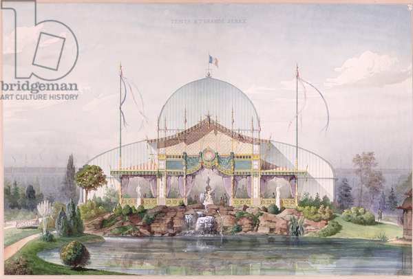 Tent and Big Glasshouse in the Garden of the Universal Exhibition in Paris in 1867 (watercolour on paper)