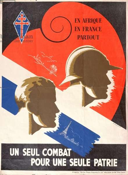 'Un Seul Combat pour Une Seule Patrie, French Resistance poster, c.1944 (colour litho)