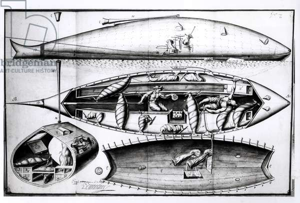 Cross-Section of a Submarine, from a manuscript, March 1689 (engraving) (b/w photo)