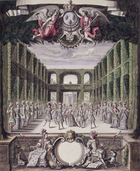 Dance in a Formal Garden, from a collection entitled 'Les Menus Plaisirs du Roi' (pen & ink and w/c on paper)