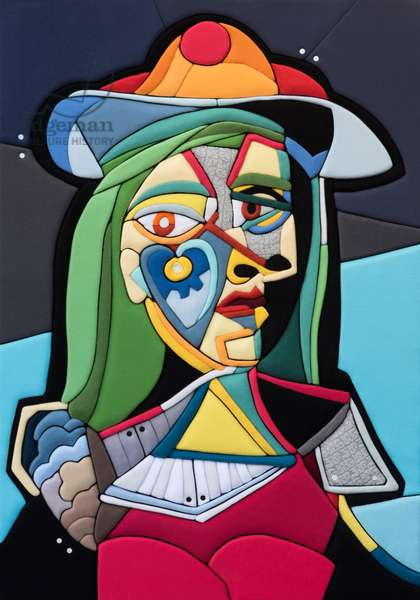 540 Picasso Re Loaded - Ritratto di Donna, PA 100x70x8 cm 2020, Sculpture and fabrics from Clothes