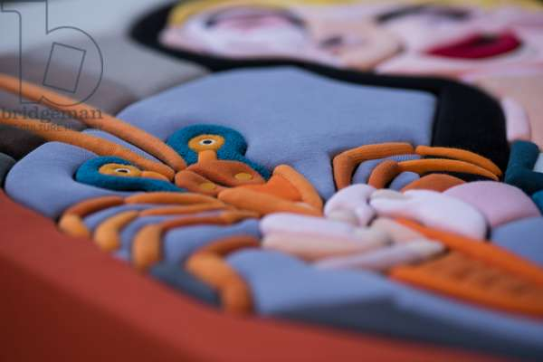 548 Picasso Re Loaded - FABRICS LANDS #1  cm 2020, Sculpture and fabrics from Clothes