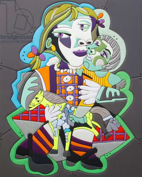 325 Picasso Re Loaded - Maya con la bambola, PA 150x120x8 cm 2014, Sculpture and fabrics from clothes