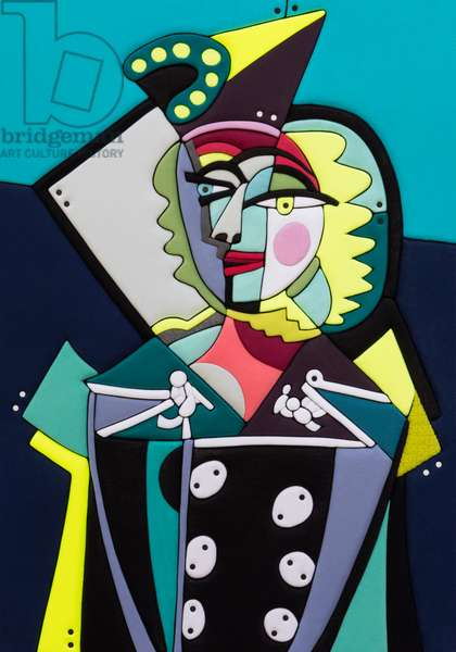 547 Picasso Re Loaded - Ritratto di Donna, PA 100x70x8 cm 2020, Sculpture and fabrics from Clothes