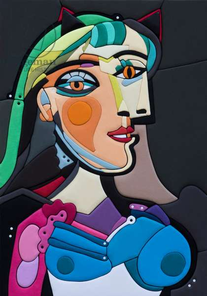 546 Picasso Re Loaded - Ritratto di Donna, PA 100x70x8 cm 2020, Sculpture and fabrics from Clothes