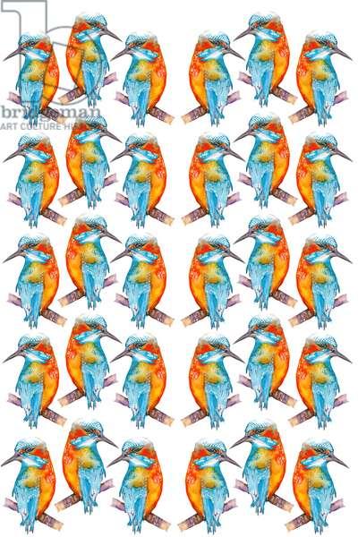 Kingfishers Galore, 2021 (w/c)