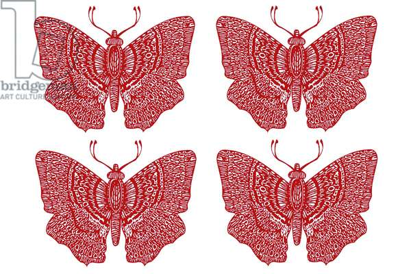 Four Red Butterflies, 2020 (digital drawing)