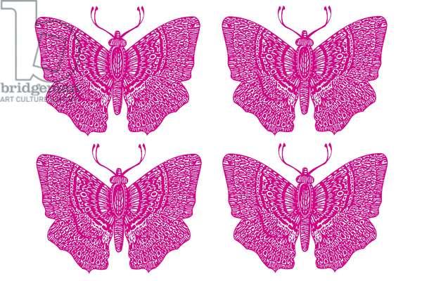 Four Pink Butterflies, 2020 (digital drawing)