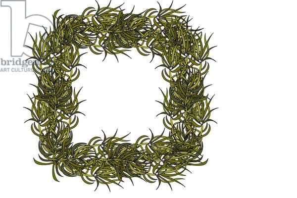 Square Green Leaf Frame, 2020 (digital)